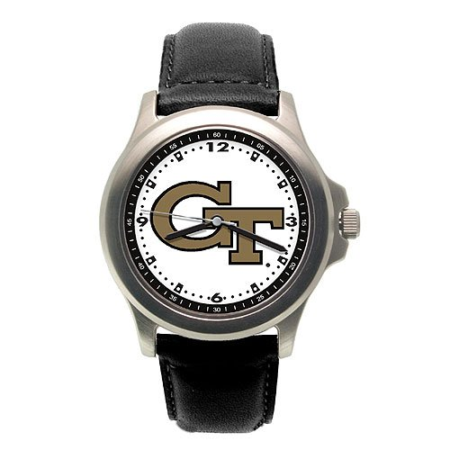 Georgia Tech Yellow Jackets Men's Black Leather Rookie Watch