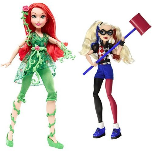 """DC Super Hero Girls Poison Ivy 12"""" Action Doll and Harley Quinn 12"""" Action Doll Bundle"""