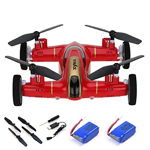 Yanni Syma X9 Flying Quadcopter Car 2.4Ghz 4CH RC Quadcopter Drone Car + 2 Extra Batteries(Red)
