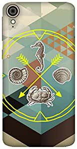 The Racoon Grip Sea Life hard plastic printed back case / cover for HTC Desire 828
