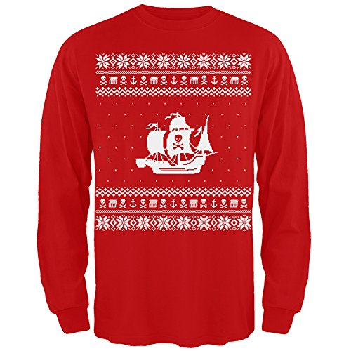 Pirate Ship Ugly Christmas Sweater Red Long Sleeve - 2X-Large