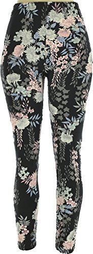 Hand By Hand Aprileo Women's Leggings Soft Stretch Elasticated Waistband [Pink Floral](Small/Medium)