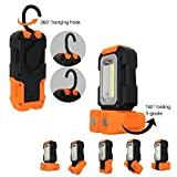 Portable LED Work Light, Multi-use COB Flashlight, Magnetic Base & Hanging Hook, Battery-operated 5000K Daylight, 200 Lumens, 120° Beam Angle Flood Light, for Car Repairing, Blackout and Emergency