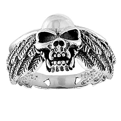 Sterling Silver Skull Ring with wings sizes 10 to15 by 1800skull
