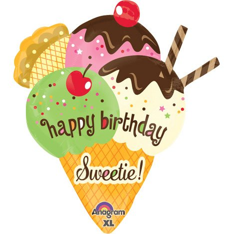 "Happy Birthday Sweetie Cherry On Top Ice Cream 30"" Mylar Foil Balloon"