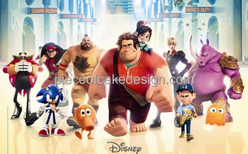 1/4 Sheet ~ Disney Wreck It Ralph Full Group Birthday ~ Edible Image Cake/Cupcake Topper!!!
