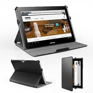 Anker® Samsung P5100 P5110 Case for Samsung Galaxy Tab 2 10.1 P5100 P5110 Case Hülle Tasche Etui Schutzhülle aus PU Leder - Smart Cover mit Ständer - Einteiliges Wide-View - Schwarz