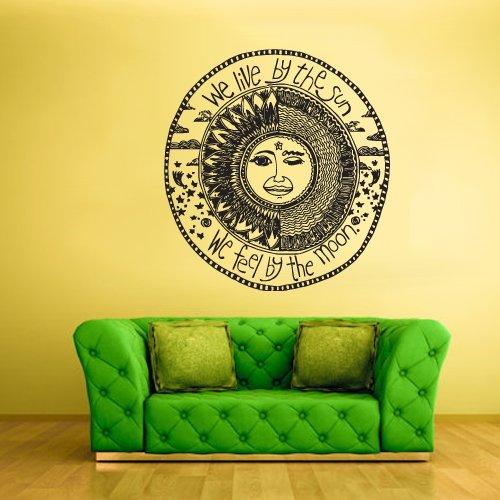 Wall Vinyl Sticker Decals Decor Art Bedroom Design Mural Sun Crescent Dual Sign Quote Ethnical Symbol Moon (Z2320) front-958915