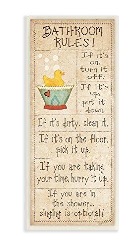 Decor Collection Bathroom Rules Rubber Ducky Tall Bathroom Wall Plaque
