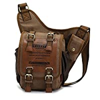 Generic Vintage Mens Canvas Backpack Bicycle Bag Womens Shoulder Sling Chest Military Leather Patchwork Messenger Bag(Khaki) from Generic