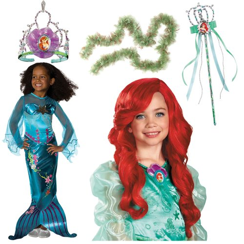Magical Mermaid Costume Small Including Seaweed Boa, Ariel Wig, Wand and Tiara