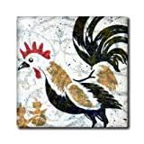 ct_11385_7 Cassie Peters Chickens - Vintage Rooster Digital Art by Angelandspot - Tiles - 8 Inch Glass Tile