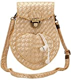 Hynice Girl's Cellphone Pouch Bag Lozenge Pattern PU Leather Mini Cross-body Bag (gold)