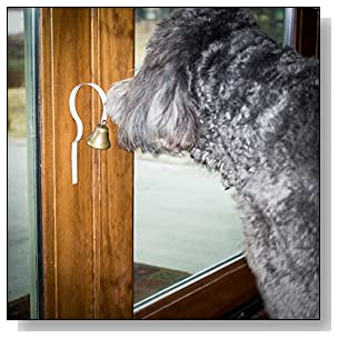 GoGo Bell Dog Doorbell for Housebreaking / Housetraining Door Bell / Potty Training Your Poochie to Let You Know When they Need to Tinkle (White, Qty 1)