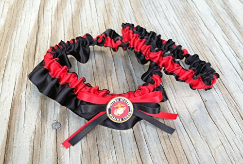 Marine Military Bridal Satin Wedding Garter Black & Red Keepsake Or Garter SET