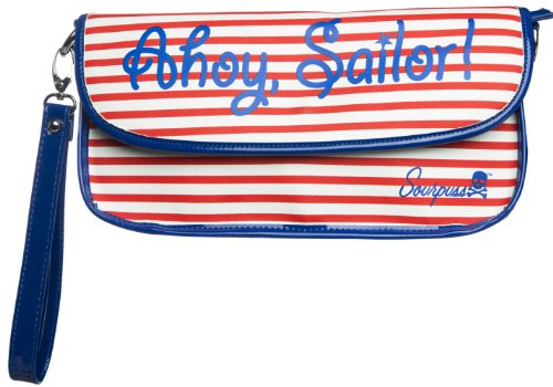 Sourpuss Ahoy Sailor Clutch Purse in Red White and Blue