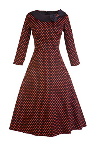 VOGTAGE 1950's 3/4 Sleeve Wave Point Retro Vintage Dress with Defined Waist Design XL Size