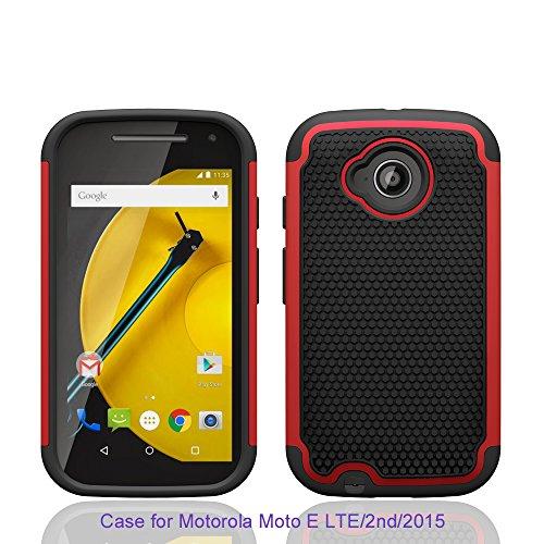 Pudini Hybrid Dual Layered Case Cover for Motorola Moto E 2nd Gen Moto E2 - Red - Free Screenguard