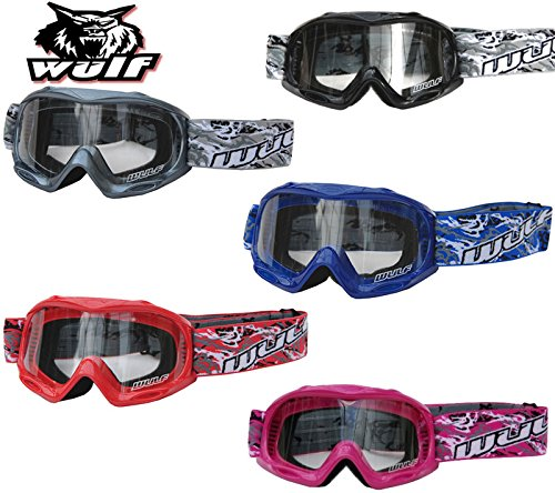 WULFSPORT CUB JUNIOR KIDS MOTORCYCLE MOTOCROSS ATV OFF ROAD CART MX GOGGLES (BLUE)