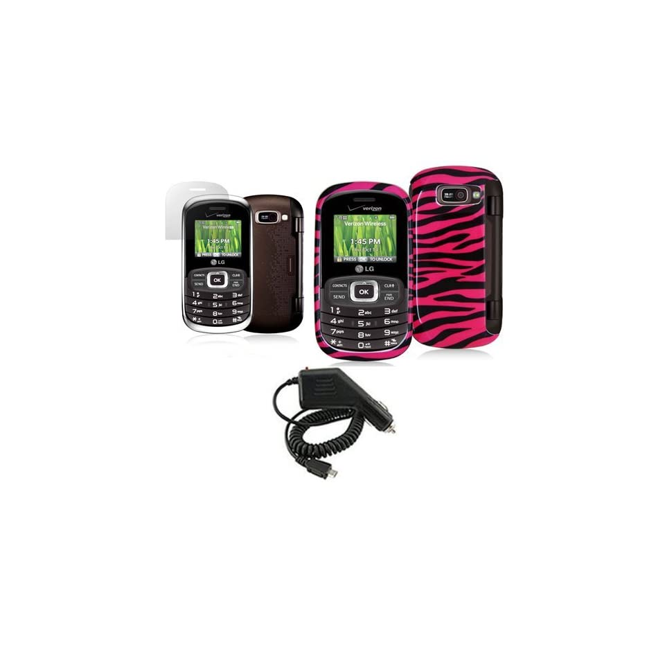 LG OCTANE VN530 PINK BLACK ZEBRA STRIPES CASE, RAPID CAR CHARGER, LCD SCREEN PROTECTOR COMBO