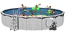 Big Sale Splash Pools Above Ground Round Pool Package, 27-Feet by 52-Inch