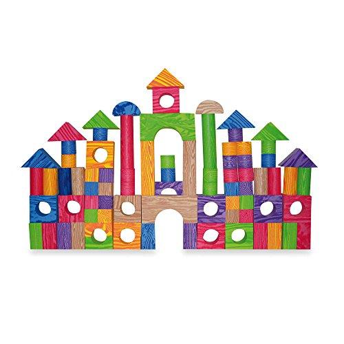 Verdes color 100 piece wood foam blocks toys games toys for Foam block house construction