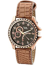 WATCH ME Brown Leather Black Dial Watch For Men Brown Leather Black Dial Watch For Men Watch MeAL-184