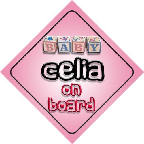 celia-on-board-baby-girl-auto-a-forma-di-cartello-regalo-per-bambini-e-neonati