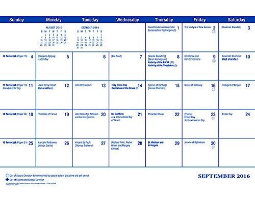 Parish Wall Calendar: September 2016 Through December 2017