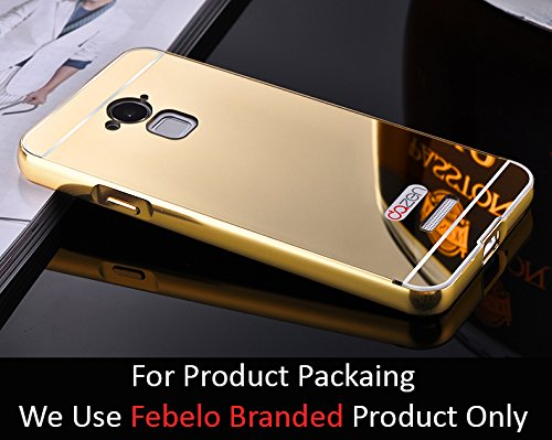 Febelo Branded Luxury Metal Bumper + Acrylic Mirror Back Cover Case For Coolpad Note 3 - Gold Plated
