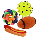 VICTORY,Durable Safe Rubber Ball Dog Glister Chew Toy Dogs & Cats Chewing Toy,Squeak Toys Pet Biting Training Molar Toy,Random Color,4 Pcs Bowling/Bell Ball/Sea Urchins/Hot Dog