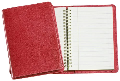 Graphic Image Wire-O-Notebook, Goatskin Leather, 7-Inches, Red (JS7MRBLGTIRED)