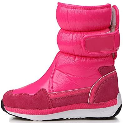 new lovely pink shiny waterproof winter snow womens boots