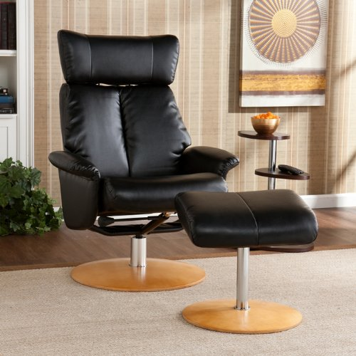 Southern Enterprise UP5513RC Recliner and Ottoman, Shimmer Black Bonded Leather