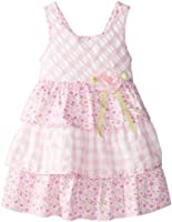 Bonnie Jean Little Girls' Seersucker Check and Floral Tiered