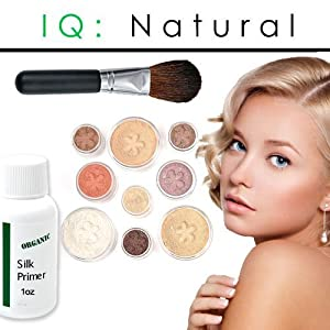 IQ Natural Large Pure Minerals Makeup Starter Set with Brush Fair Shade Under 30.00!