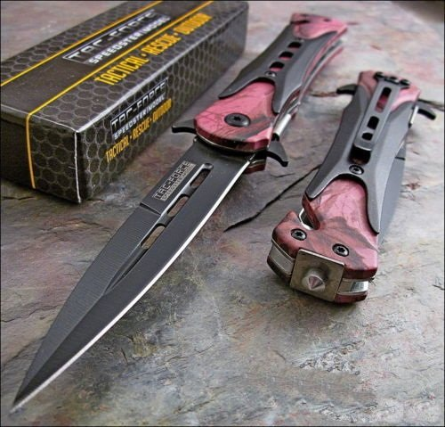 Tac-Force Pink Camo Dagger Glass Breaker Rescue Knife