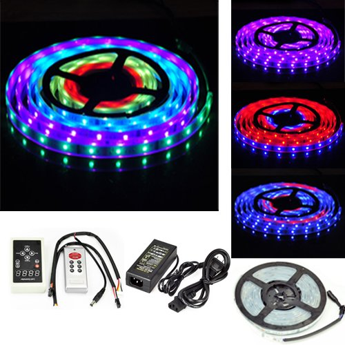 Xkttsueercrr 5M Dream Color 5050 Rgb 6803 Ic Chip Led Strip + 133 Effects Rf Controller + Power