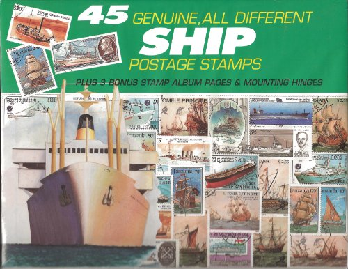 45 Genuine Postage Stamps Assortment - Ships - 1