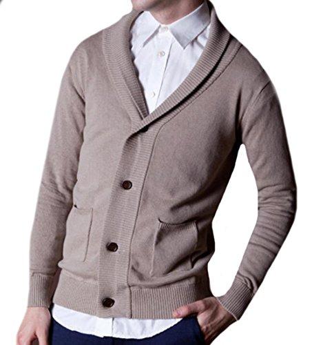 Oberora Men's British Style Cotton Shawl Collar Cardigan Sweater Khaki L (British Khaki Mens Sweaters compare prices)