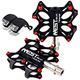 "Lerway Bike MTB Pedals Platform Flat Bicycle Pedals 9/16"" + 2 Frog Bike Cycling LED Bicycle Light"