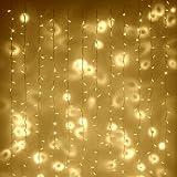 Rideau Lumineux Intérieur/Extérieur, 2m x 3m, 288 LED Blanches Chaudes, Type CC, Déco