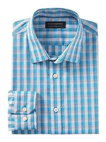 banana-republic-mens-non-iron-tailored-slim-fit-button-down-shirt-medium-teal-plaid