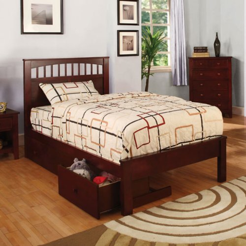 Carus Cherry Finish Bed Frame w/ Underbed Drawers
