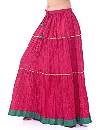 FOI Cotton Skirt pdp pnk tier Women Indian Retro Falda Kjol Boho Hippy