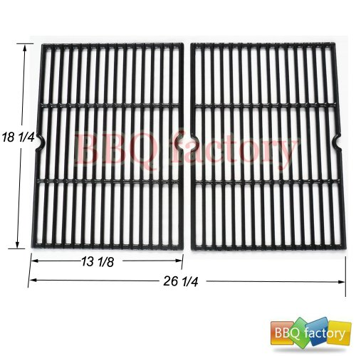 bbq factory JGX652 Replacement Porcelain coated Cast Iron Cooking Grid Set of 2 for Select Gas Grill Models By Char-Broil, Coleman, Kenmore, Thermos, Uniflame, Master and Others