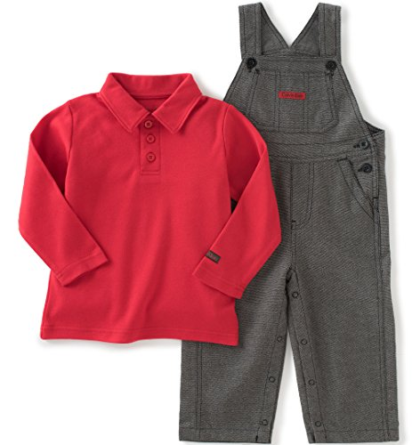 Calvin Klein Baby Overall with Polo Top Set, Red, 18 Months