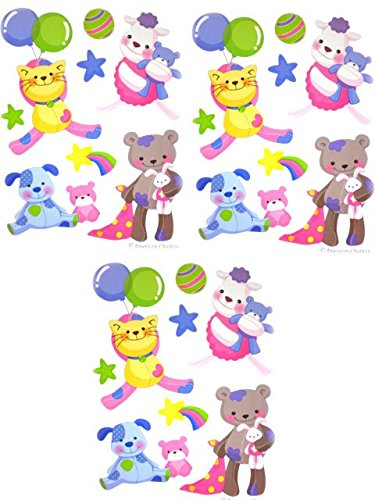 Set 3 Teddy Bears Kids Room Wall Mural Stickers Decor