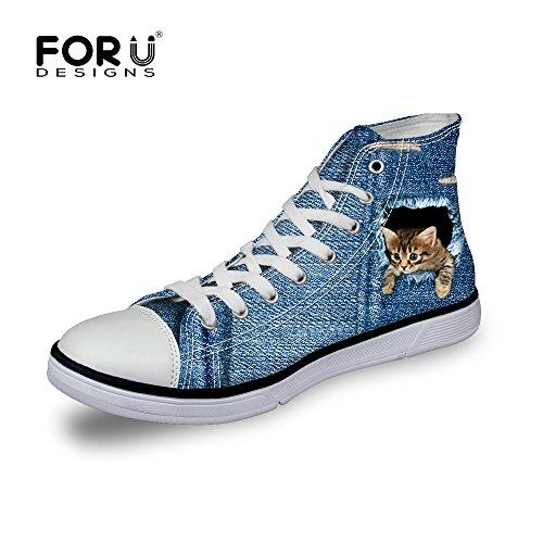 [FOR U DESIGNS]個性的なデザイン 超軽量 キャンバス スニーカー レースアップ カジュアル シューズ canvas shoes ハイカット メンズ レディース 猫1