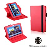 Eallc Smart Leather Stand Case Cover for Samsung Galaxy Note 10.1 2nd Gen Tablet 2014 Edition P600 P601 with Auto Sleep Wake Function +Stylus Pen & Screen Protector Film (N8000/360 Rotating Red)
